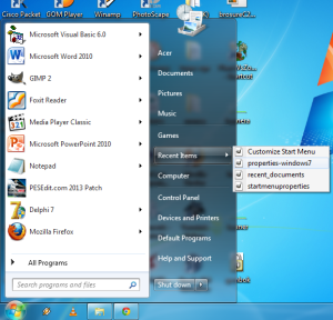 Recent Items at Windows 7 Menu